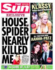 The Sun () Newspaper Front Page for 15 November 2012