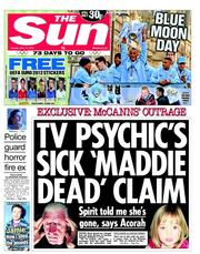The Sun () Newspaper Front Page for 15 May 2012