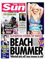 The Sun Newspaper Front Page (UK) for 16 July 2012