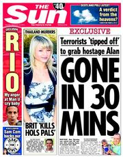 The Sun (UK) Newspaper Front Page for 16 September 2014