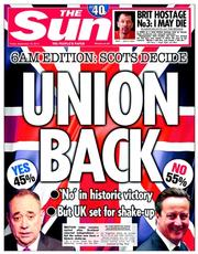 The Sun (UK) Newspaper Front Page for 19 September 2014