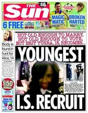 The Sun (UK) Newspaper Front Page for 1 October 2014