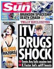The Sun (UK) Newspaper Front Page for 1 November 2014