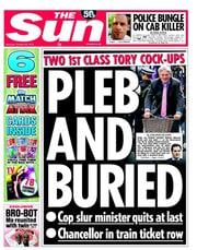 The Sun Newspaper Front Page (UK) for 20 October 2012