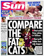 The Sun (UK) Newspaper Front Page for 20 October 2014