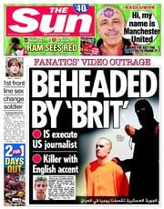 The Sun (UK) Newspaper Front Page for 20 August 2014