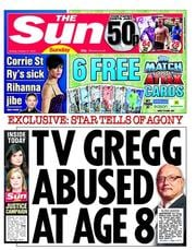 The Sun () Newspaper Front Page for 21 October 2012