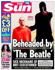 The Sun (UK) Newspaper Front Page for 21 August 2014