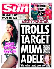 The Sun Newspaper Front Page (UK) for 22 October 2012