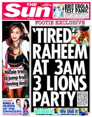 The Sun (UK) Newspaper Front Page for 22 October 2014