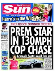 The Sun Newspaper Front Page (UK) for 22 August 2012