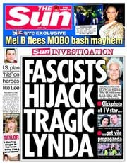The Sun (UK) Newspaper Front Page for 24 October 2014