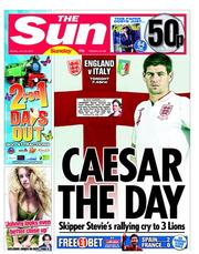 The Sun Newspaper Front Page (UK) for 24 June 2012