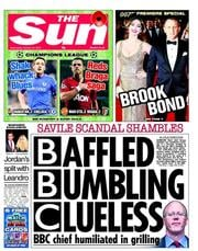 The Sun Newspaper Front Page (UK) for 25 October 2012