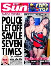 The Sun Newspaper Front Page (UK) for 26 October 2012