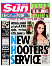 The Sun Newspaper Front Page (UK) for 26 March 2013