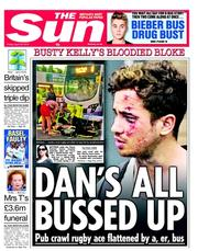 The Sun () Newspaper Front Page for 26 April 2013