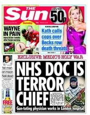 The Sun (UK) Newspaper Front Page for 26 August 2012