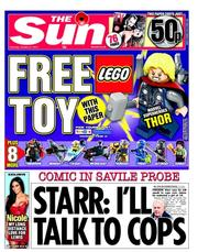 The Sun Newspaper Front Page (UK) for 27 October 2012