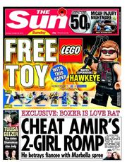 The Sun Newspaper Front Page (UK) for 28 October 2012