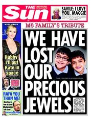 The Sun Newspaper Front Page (UK) for 28 December 2012