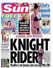 The Sun Newspaper Front Page (UK) for 29 December 2012