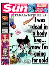 The Sun Newspaper Front Page (UK) for 29 August 2012