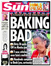 The Sun (UK) Newspaper Front Page for 29 August 2014