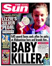 The Sun Newspaper Front Page (UK) for 30 July 2012