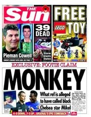 The Sun Newspaper Front Page (UK) for 31 October 2012