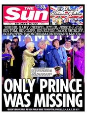 The Sun Newspaper Front Page (UK) for 5 June 2012