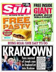 The Sun Newspaper Front Page (UK) for 7 June 2012