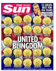 The Sun Newspaper Front Page (UK) for 8 August 2012