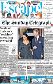 The Sunday Telegraph (UK) Newspaper Front Page for 10 November 2019