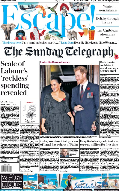 The Sunday Telegraph Newspaper Front Page (UK) for 10 November 2019