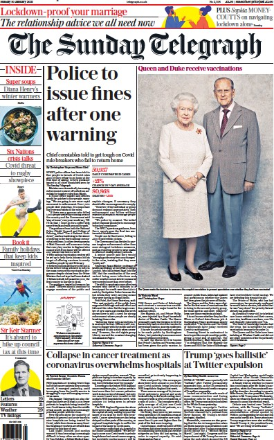 The Sunday Telegraph Newspaper Front Page (UK) for 10 January 2021