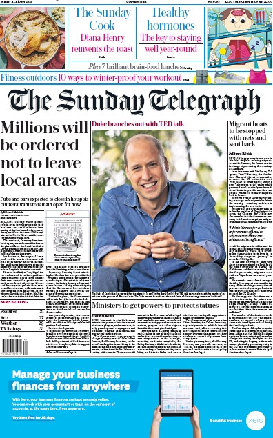 The Sunday Telegraph Newspaper Front Page (UK) for 11 October 2020