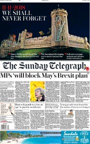 The Sunday Telegraph (UK) Newspaper Front Page for 11 November 2018