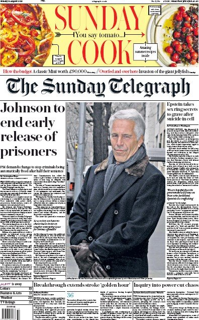 The Sunday Telegraph Newspaper Front Page (UK) for 11 August 2019