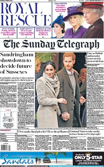 The Sunday Telegraph Newspaper Front Page (UK) for 12 January 2020