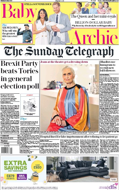The Sunday Telegraph Newspaper Front Page (UK) for 12 May 2019