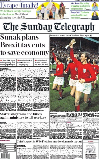 The Sunday Telegraph Newspaper Front Page (UK) for 12 July 2020
