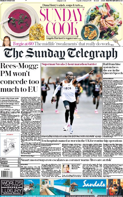 The Sunday Telegraph Newspaper Front Page (UK) for 13 October 2019