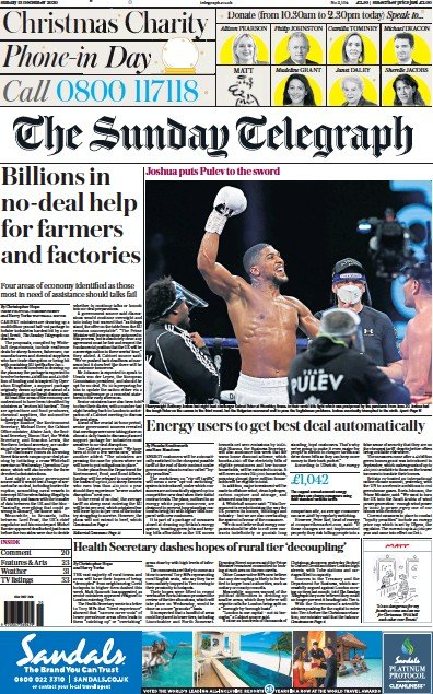 The Sunday Telegraph Newspaper Front Page (UK) for 13 December 2020