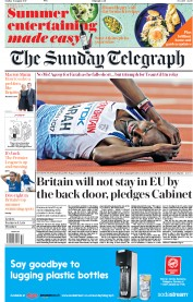 The Sunday Telegraph (UK) Newspaper Front Page for 13 August 2017