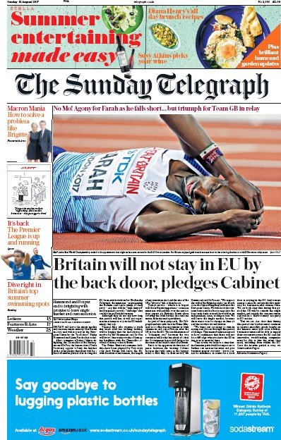 The Sunday Telegraph Newspaper Front Page (UK) for 13 August 2017