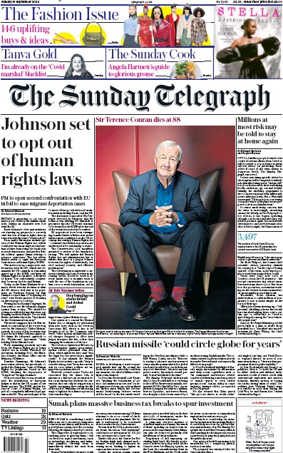 The Sunday Telegraph Newspaper Front Page (UK) for 13 September 2020