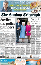 The Sunday Telegraph Newspaper Front Page (UK) for 14 October 2012