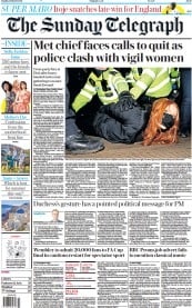 The Sunday Telegraph front page for 14 March 2021