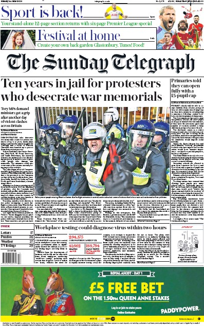 The Sunday Telegraph Newspaper Front Page (UK) for 14 June 2020
